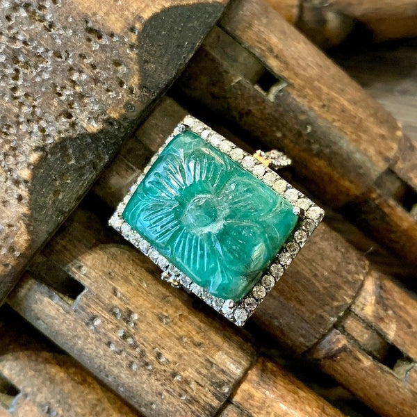 Carved Emerald and Diamond Ring