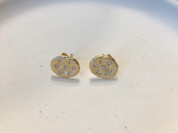 14k Gold Flake Earring With Diamond Cluster