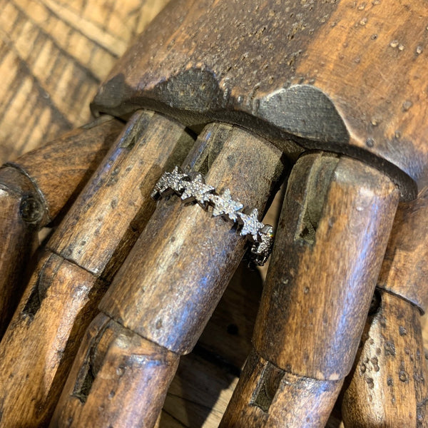 Oxidized Silver Star Diamond Ring