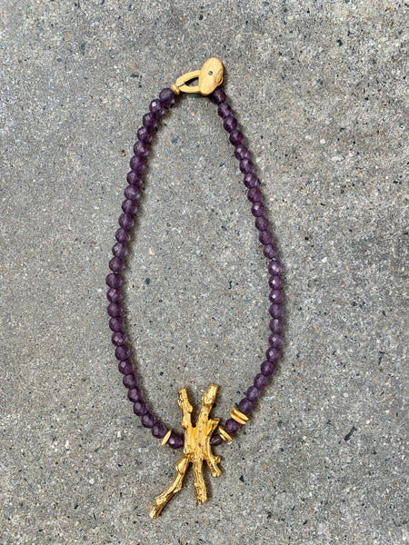 Necklace Purple Crystal w/ Olive Leaf