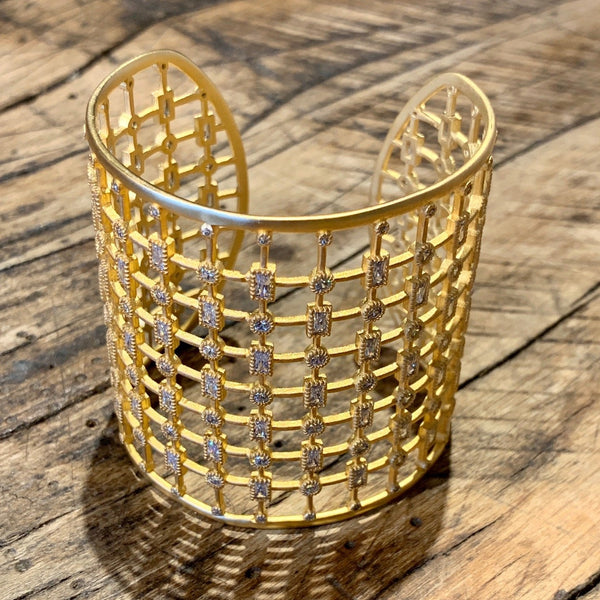 Large Gold Lace Cuff with Square CZs