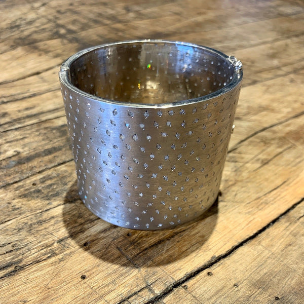 Large Sterling Silver Diamond Encrusted Cuff