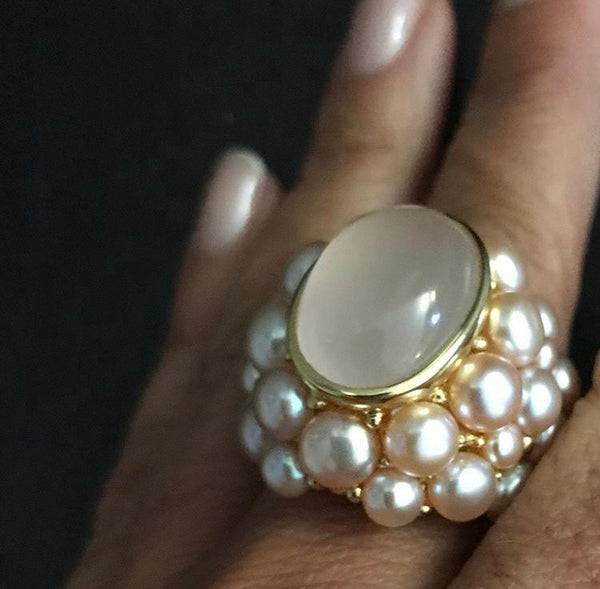Pink Quartz with Pink Sea Pearl Cocktail Ring