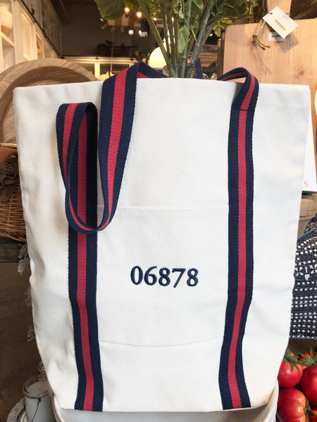 Canvas Zip Code Tote with 06870, 06878. or 06830