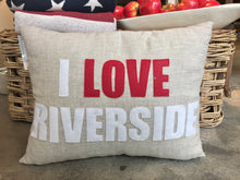 "Load image into Gallery viewer, ""I LOVE Riverside"" and ""I LOVE Old Greenwich"" Pillows"