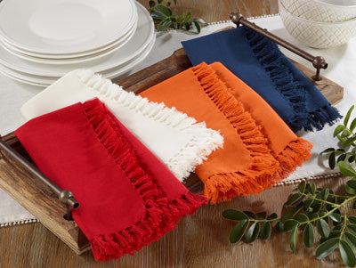 Off White Fringe Napkins-Set of 4