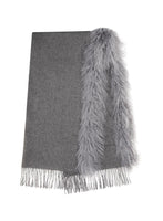 Wool Scarf with Mongolian Trim