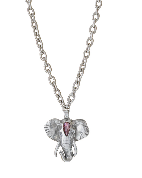 Silver Plated Elephant Necklace with Swarovski Crystals
