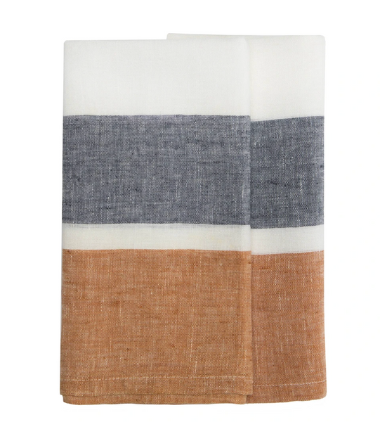 Bold Stripe Linen Evergreen or Rust Kitchen Towels - Set of 2
