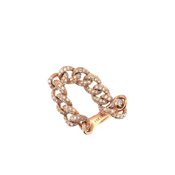 Pave Flexible Chain Link 14KRose Gold Ring