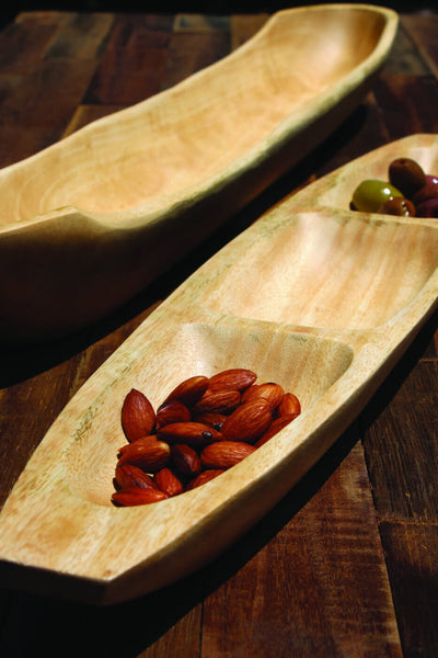 Mango Wood Oval Dish with Dividers