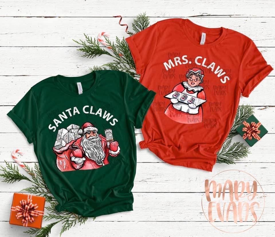 Mrs Claws & Santa Claws Funny Christmas UNISEX Shirt - Mary Evans