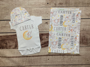 Watercolor Grey Elephant Infant Set, Personalized Coming Home Outfit and Blanket - Mary Evans
