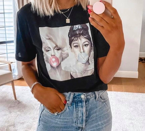 Marilyn Monroe and Audrey Hepburn Bubble Gum Shirt - Mary Evans