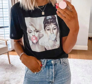 Marilyn Monroe and Audrey Hepburn Bubble Gum Shirt