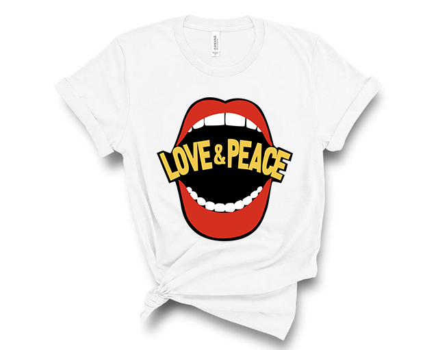 Love & Peace Mouth  - Graphic Tee