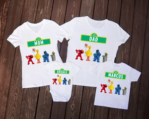 Sesame Street Birthday Bodysuit / Sesame Street Live Shirt Family Set