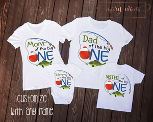 Fishing Birthday Family Shirts Set, O-Fish-Ally One