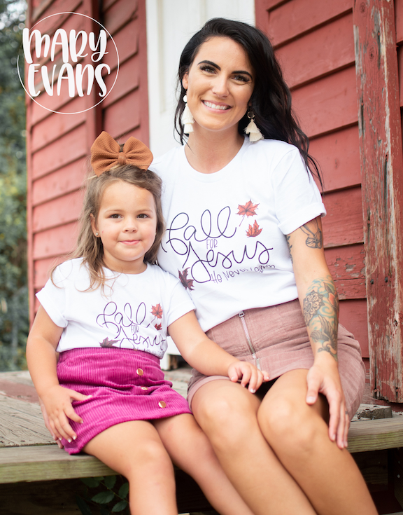 Fall for Jesus He Never Leaves - Fall Graphic Tee - Toddler & Youth Sizing