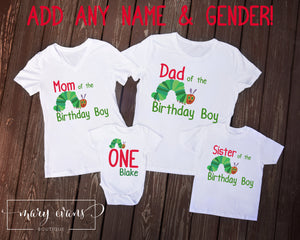 The Very Hungry Caterpillar Family of the Birthday Boy / Girl Shirt Set