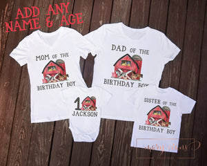 Barnyard Farm Birthday Family Shirt Set