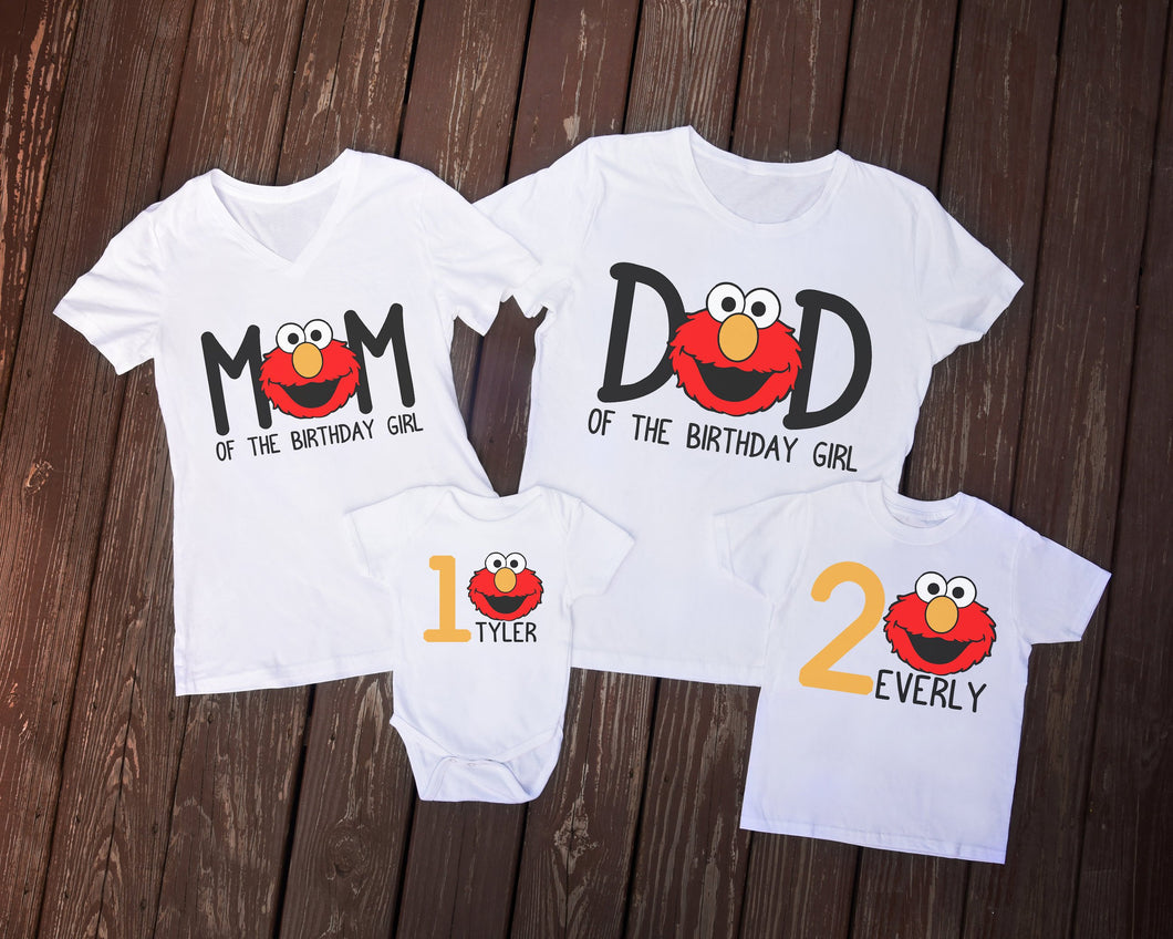 Sesame Street Elmo Birthday Family Shirts - Mary Evans