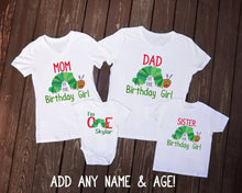 Load image into Gallery viewer, The Very Hungry Caterpillar I'm One Family of the Birthday Girl or Boy Shirt Set - Mary Evans