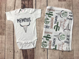 Western Theme Infant Set, Personalized Coming Home Outfit and Blanket