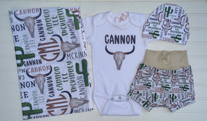 Western Theme Infant Set, Personalized Coming Home Outfit and Blanket - Mary Evans