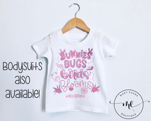 Bunnies Bugs Birds Blooms Spring Girls Easter T-Shirt or Bodysuit