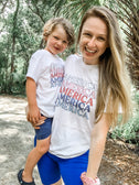 Retro Stacked America Shirt - Graphic Tee ~ Toddler & Youth Sizing