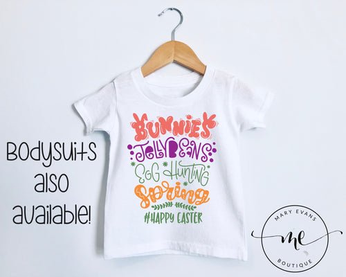 Bunnies Jellybeans Egg Hunting Spring Easter T-Shirt or Bodysuit - Mary Evans