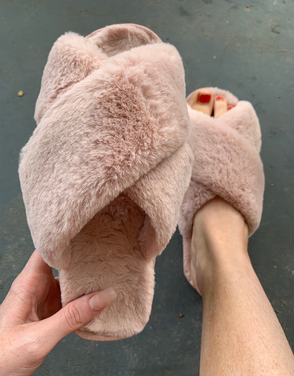 Fuzzy Criss Cross Slippers