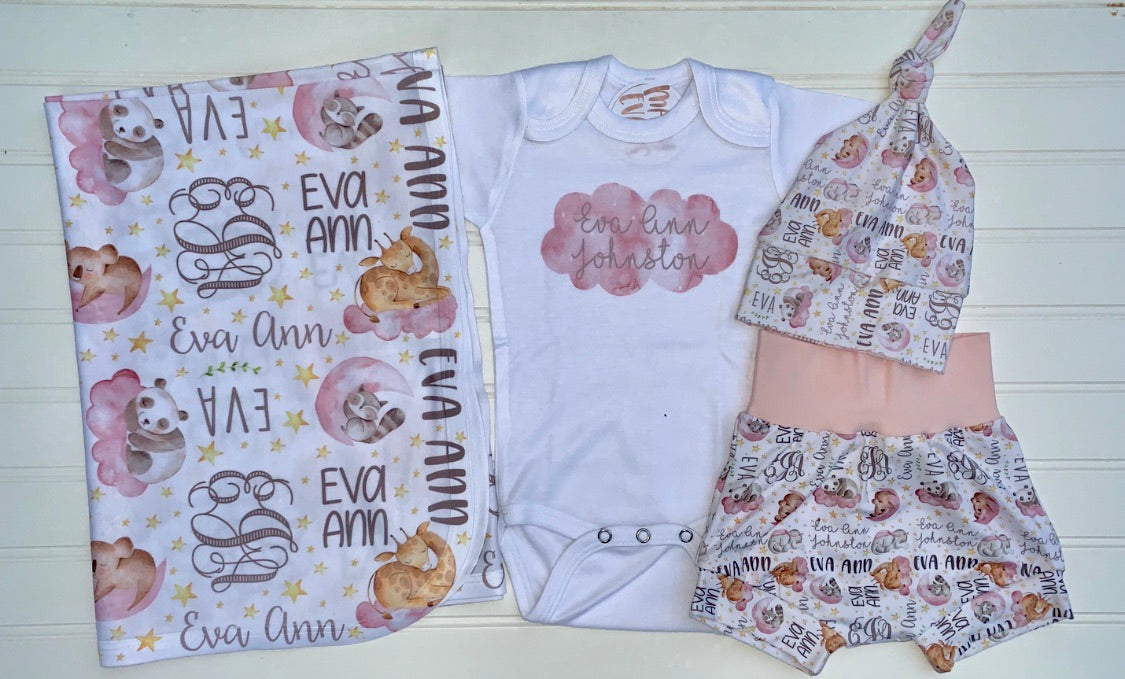 Watercolor Sleeping Animals Infant Set, Coming Home Outfit and Blanket
