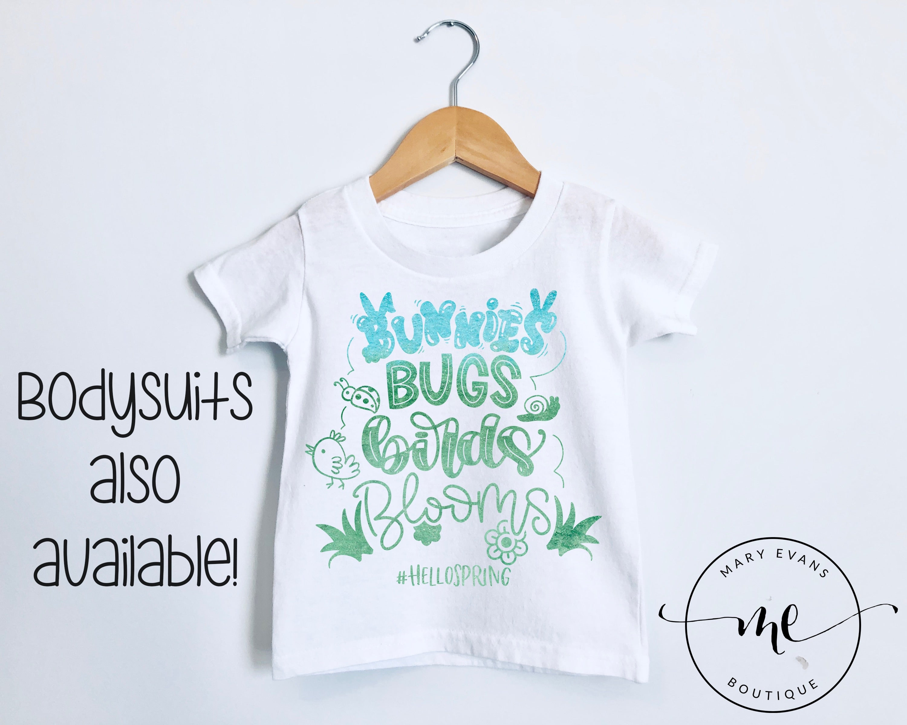 Bunnies Bugs Birds Blooms Spring Boys Easter T-Shirt or Bodysuit