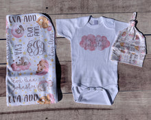 Load image into Gallery viewer, Watercolor Sleeping Animals Infant Set, Coming Home Outfit and Blanket - Mary Evans