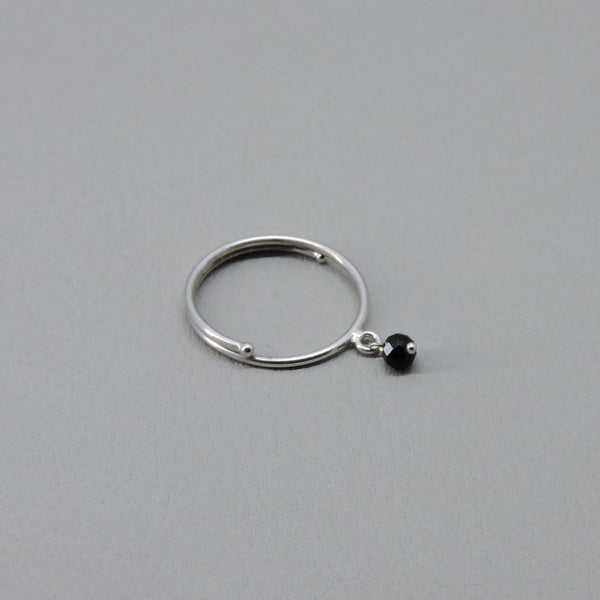 Adjustable Contrarie Ring | Silver / Black