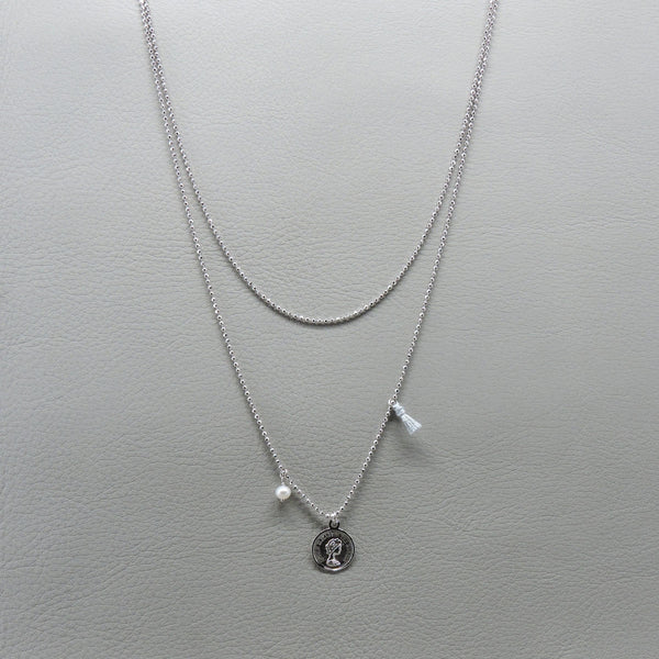Coin Long Necklace | Silver
