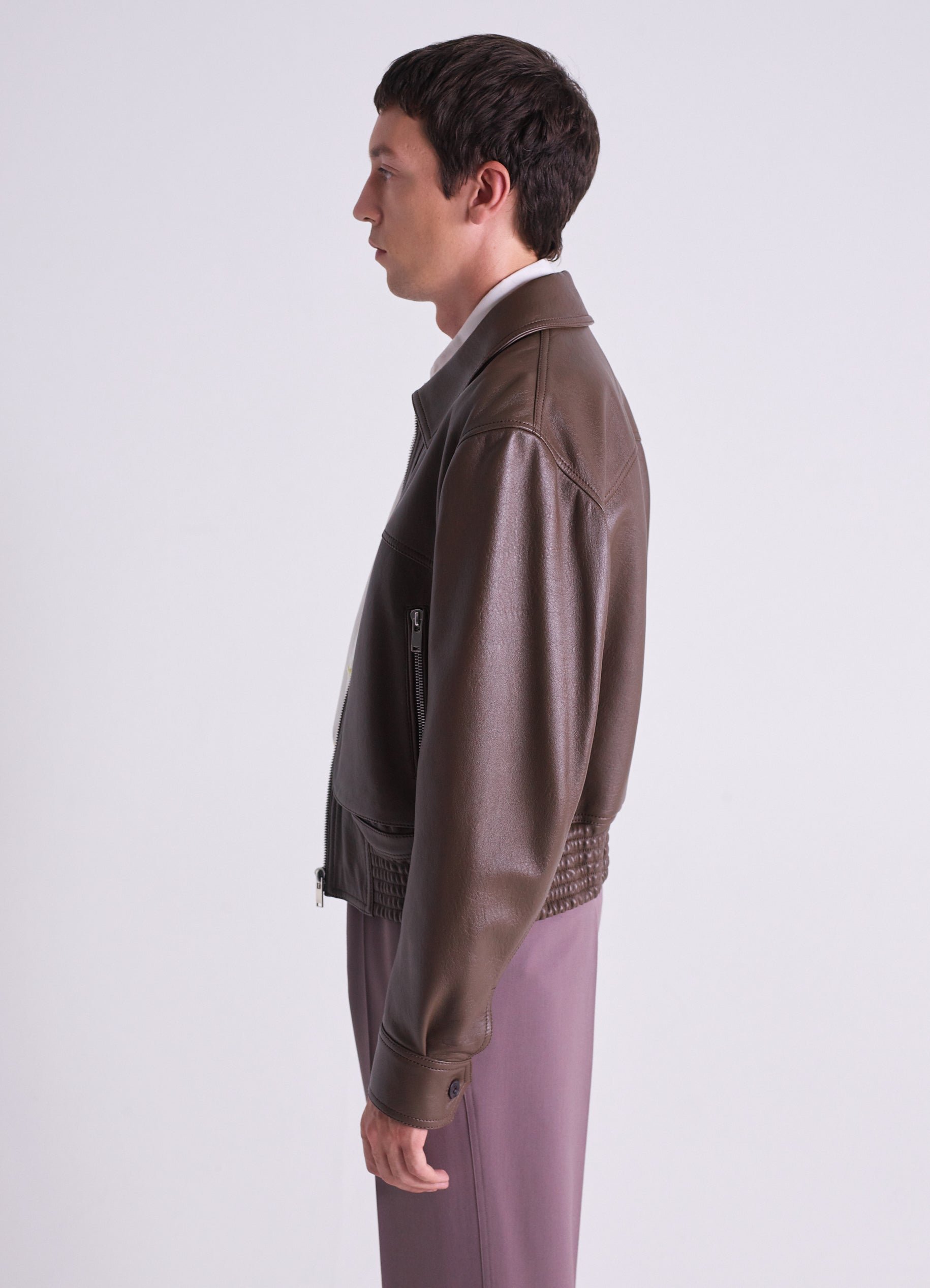 ZIPPED LEATHER BLOUSON