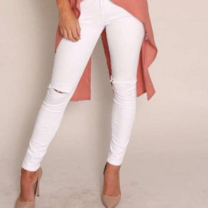 Wakee - White Denim Knee Split High Waisted Jeans