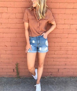 Wakee - Distressed Denim Shorts