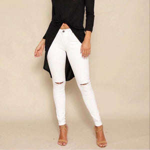 Wakee - White Knee Split High Waisted Jeans - Dilux Designs