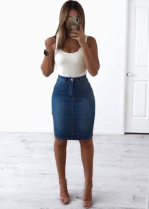 Wakee - Stretch Denim Pencil Skirt