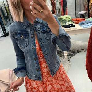 Wakee - Vintage Style Stretch Denim Jacket