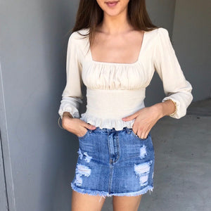 Wakee - Distressed Denim Skirt
