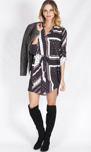 Spicy Sugar - Geometric Paisley Johnny Collar Shirt Dress