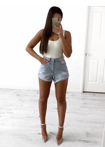 Wakee - High Waisted Distressed Denim Shorts