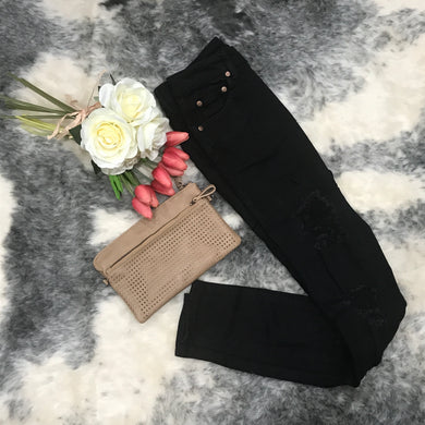 Wakee - High Waisted Distressed Denim Jeans - Black - Dilux Designs