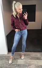 Pink Diamond - Burgundy Bomber Jacket