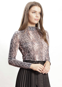 Spicy Sugar - Mika Snake Print Mesh Top